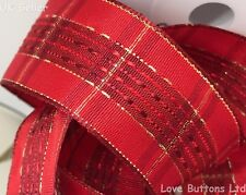 Christmas Ribbon.40mm Wide Wired Luxury Red Gold Tartan Christmas Ribbon 20m Full Roll