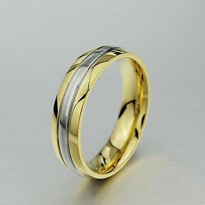 Gold Plated CZ Couple Rings Men/Womens Titanium Steel Wedding Band Size 5-13