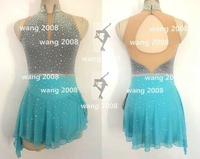 Ice Skating Dress  Competition Skating Wear Handmade Fashion grey bluee  shop clearance