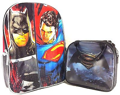 "New DC Comics Batman 16/"" School Backpack and Insulated Lunch  Box Bag"