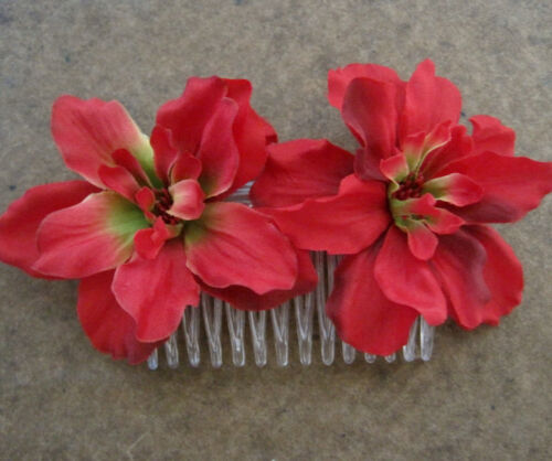 Luau Double Red Apple Blossom  Silk Flower  Hair Comb,Bridal Party,Wedding