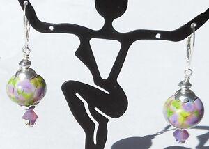 WILD-PANSIES-Earrings-Lampwork-Swarovski-Crystal-Shades-of-Purple-and-Green