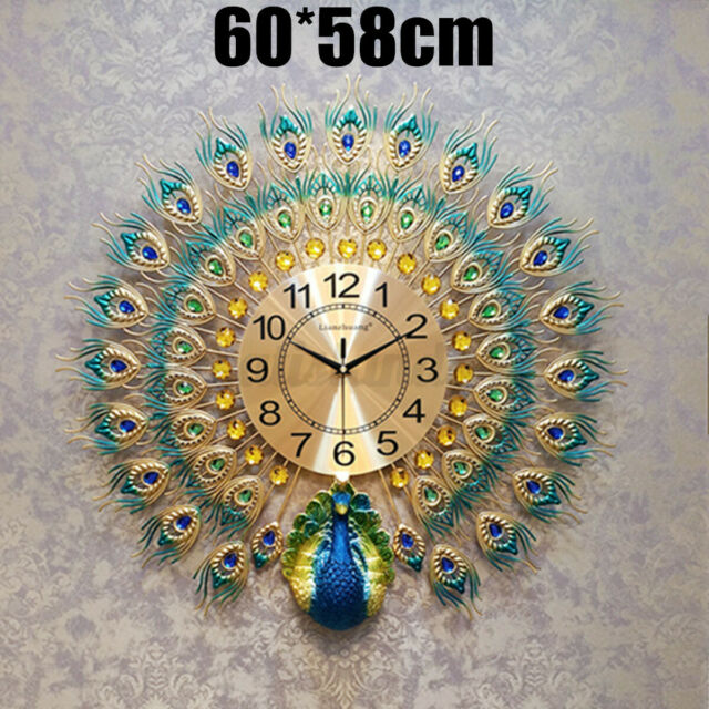 60x60cm Peacock Wall Clock Bedroom Room Wall Home Indoor Office Decor Xmas Gift
