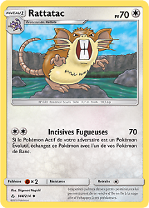 Peu Commune Rattatac SL10-144//214 Lot de 2 Pokemon VF Français