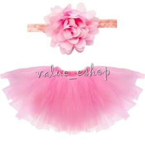 Newborn Infant Baby girl tutu skirt & flower headband Clothes Photo Prop Outfits