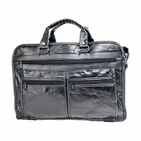 Maxam Brand Genuine Leather Briefcase Features Outside Zippered... Free Shipping