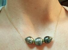 Tahitian black baroque Pearl 14k gold necklace