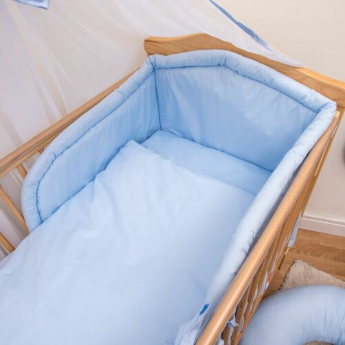 3 Piece Baby Bedding Set with Thick Bumper to fit 120x60cm Cot Plain Blue