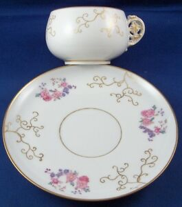 Antique-19thC-Russian-Porcelain-Floral-Cup-amp-Saucer-Porzellan-Tasse-Russia