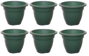 Small-20cm-Round-Bell-Plant-Pots-Planters-Plastic-Green-Colour-Garden-Pots