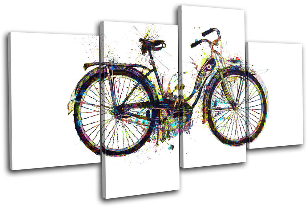 Bicycle Bike Retro Retro Retro Colourful Vintage MULTI TELA parete arte foto stampa 9e8cc4