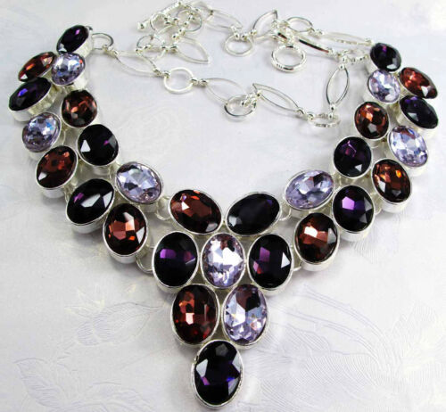 New Design Lady Bib Statement Crystal Multi Coloré lateur à travers Argent Collier
