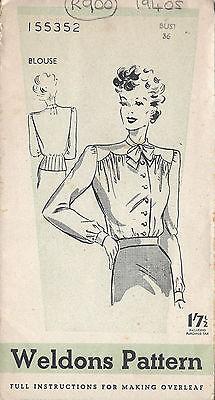 1940s Vintage Sewing Pattern B36 BLOUSE (R900)
