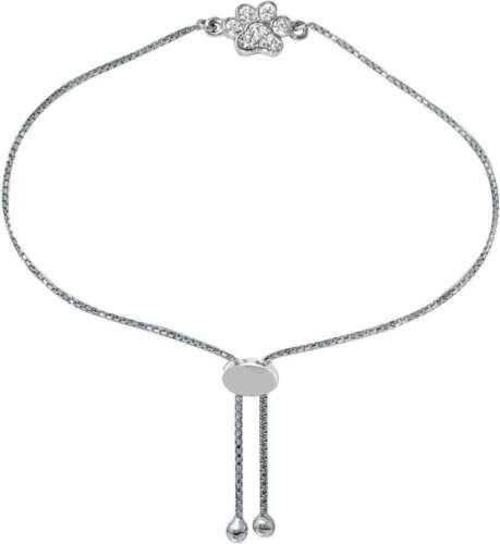 "/""Paw/"" 9/"" Adjustable Sterling Silver CZ Bolo Bracelet Charles Garnier"