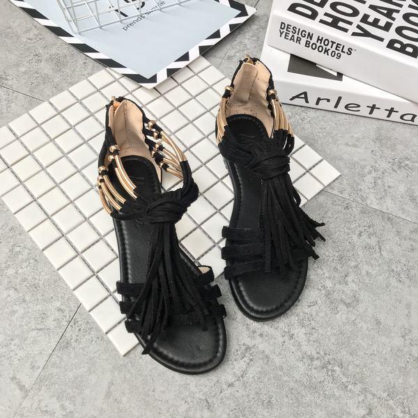 Sandali eleganti bassi  ciabatte noir or frange comodi pelle sintetica 1057