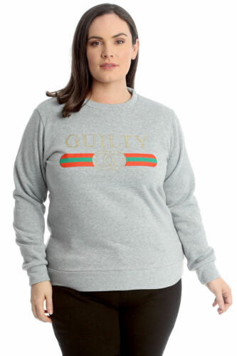 Plus Size Womens Long Sleeve Designer Guilty Slogan Stripe Sweatshirt Jumper Top