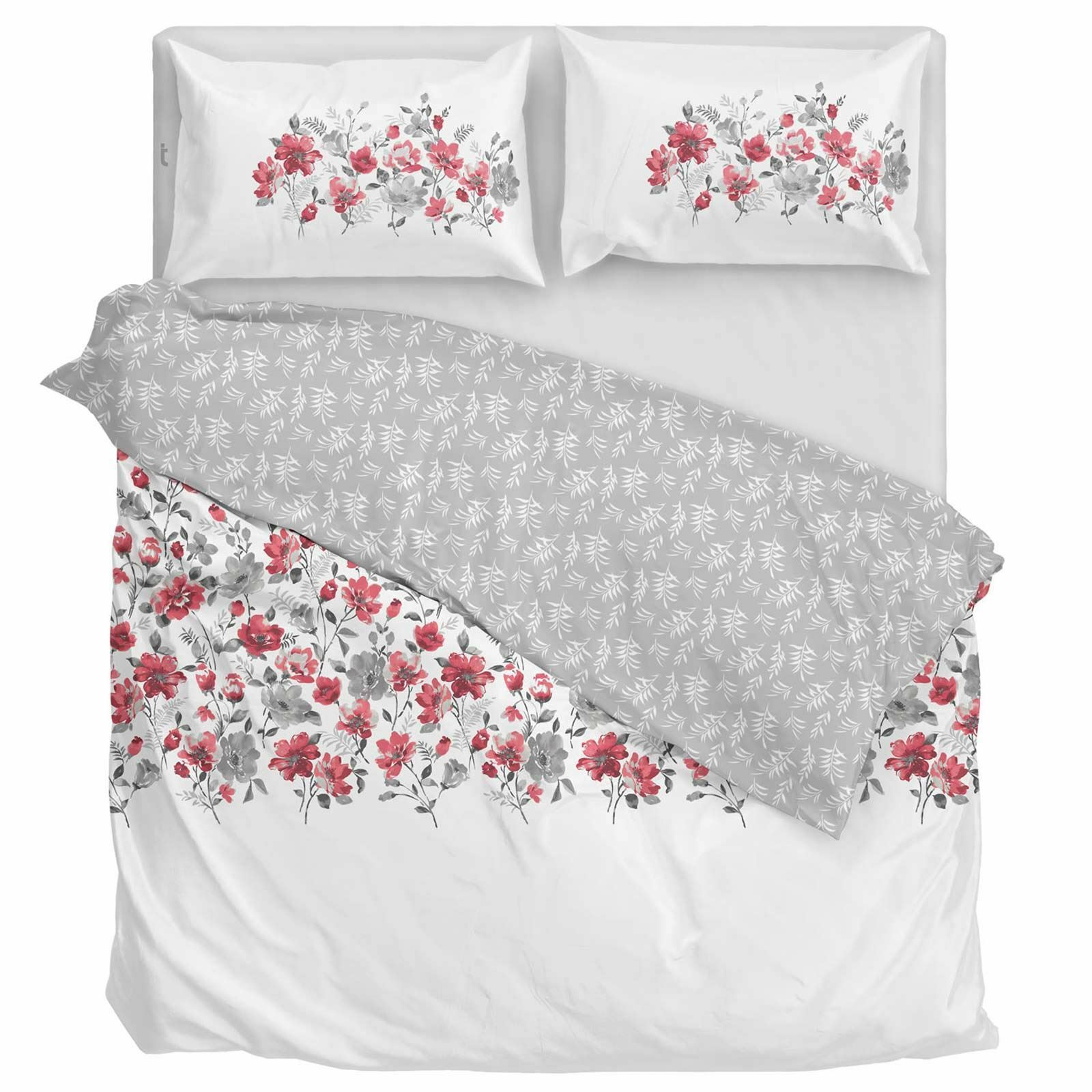 Red Duvet Covers Gabriella Floral Printed Flowers Easy Care Quilt Bedding Sets