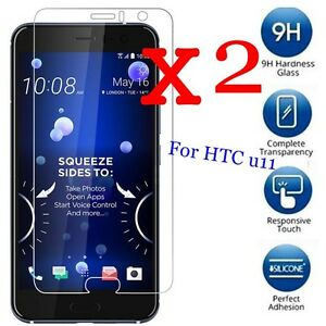2-PACK-9H-Premium-Tempered-Glass-Screen-Protector-Film-Guard-Cover-For-HTC-U11