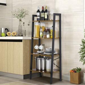 4-Tier-Ladder-Bookshelf-Storage-Rack-Leaning-Wall-Shelf-Shelving-Display-Decor