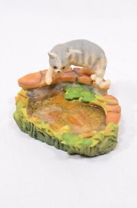 Vintage Aynsley Mastercraft Grey Tabby Cat Fish Pond 1984 - A1037/940