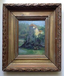 Tableau-Ancien-XIXe-Impressionniste-Ernest-ROMAN-L-ile-Barbe-Lyon-Huile-signee