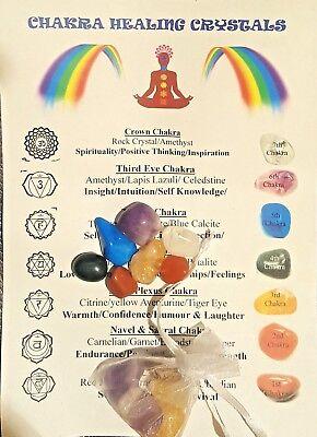 7 Chakra Healing Crystals FREE Pouch FREE Chart Stone Chakra Set Reiki  Healing | eBay