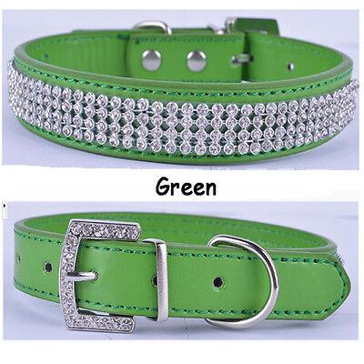 Diamante Band Bling Crystal Rhinestone Luxury Leather Pet Puppy Dog Cat Collar