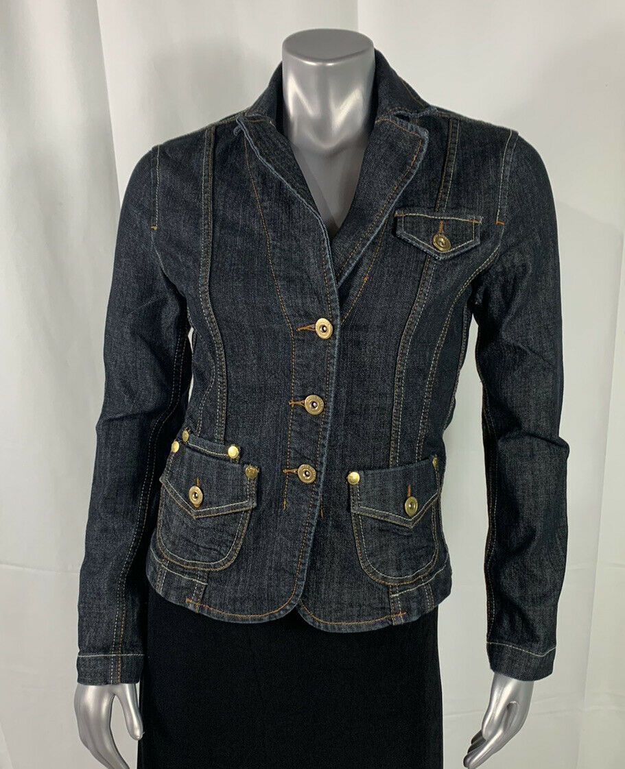 Women's Baccini Denim Button Up Jacket Long Sleeve Dark Blue Heavy Stitch Size S