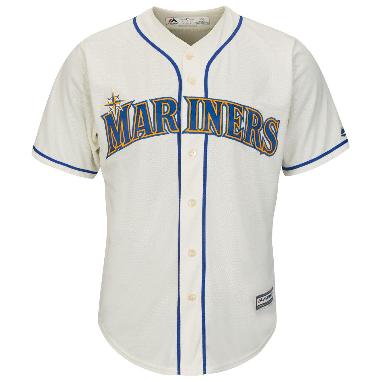 MLB Baseball Trikot Seattle Mariners creme vintage Cool base Majestic Jersey