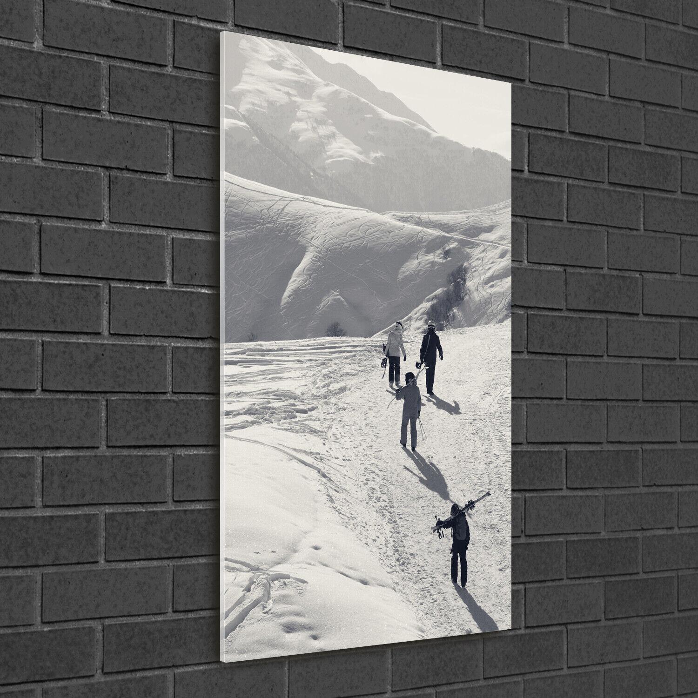 Immagine muro ARTE-STAMPA su duro-vetro perpendicolare 50x100 sciatore