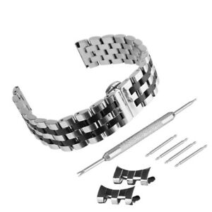 Brushed-Polished-Stainless-Steel-Solid-Link-Watch-Band-Kit-With-Curved-End-Strap