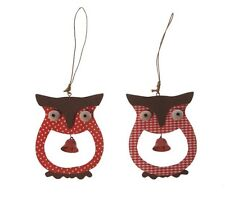 Sass Belle Set of 2 Christmas Red & White Owl & Bell Hanging Decorations 10x8cm
