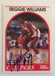 Reggie Williams 1989 Hoops Hand Signed Card Los Angeles Clippers