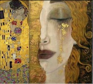 Freya-039-s-Tears-Classic-Fine-art-Gustav-Klimt-HUGE-Oil-Painting-on-Canvas-28x28-034