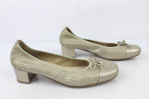 Ballet-flat-Small-heels-SWEET-Leather-way-Python-Golden-Clear-T-37-MINT