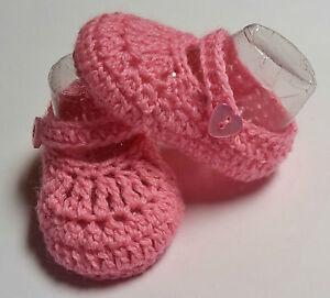 Pink-handmade-knit-crochet-strap-newborn-reborn-baby-booties-shoe-000-8-cm