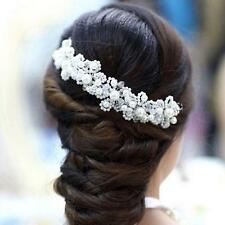 White Pearl Floral Crystal Hair Accessories Bridal Jewelry Head wear Wedding