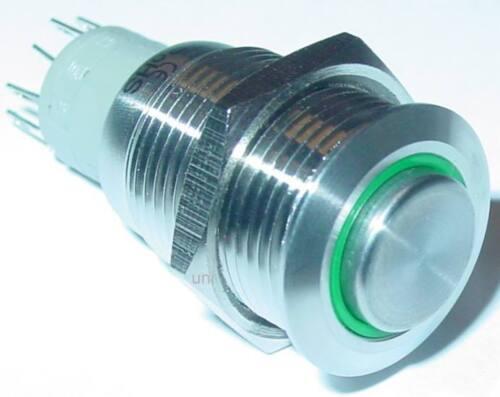 250V//3A  Ein//AUS Edelstahl Schalter rund 16mm IP67 grüner LED Ring S140