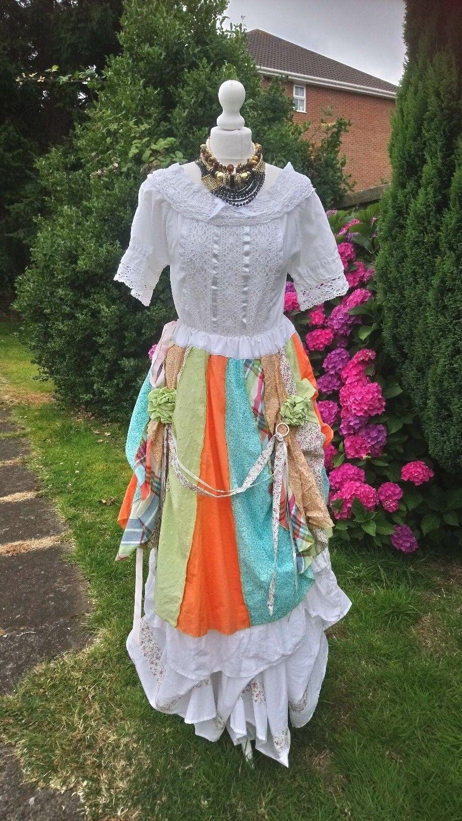 OOAK Bustle Hitch Romantic Hippie Skirt Free Größe 10 12 14 16 18 20 22 24 26