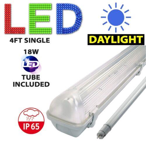 4FT SINGLE LED WEATHERPROOF FLUORESCENT LIGHT STRIP FITTING INC LED TUBE 6000K