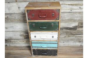 Industrial Wooden Tallboy Chest 5 Drawers - Suitcase Styled Colourful drawers