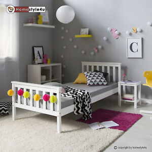 jugendbett einzelbett bett kinderbett bettgestell 90x200 wei tagesbett holzbett ebay. Black Bedroom Furniture Sets. Home Design Ideas