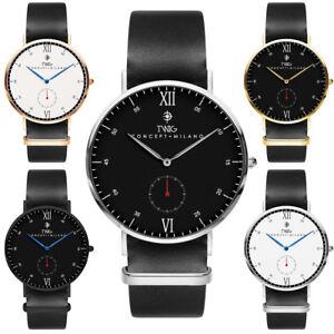 Reloj hombre/mujer TWIG MOLIERE blanco/negro cuero clásico vintage