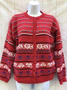 Vtg-Beldoch-Popper-Fair-Isle-Cardigan-Sweater-Nordic-Women-s-M-Made-In-USA