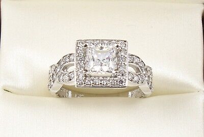 1.75TCW Princess Brilliant Cut 14k Solid White Gold engagement & Wedding Ring