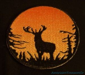 Embroidered-Sunset-Buck-Deer-Silhouette-Ombre-Circle-Patch-Iron-On-Sew-On-USA
