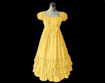 Puff Slv Tiered Ruffled Lolita cotton slim dress yd093 plus 3X (SZ 24-26)Yellow