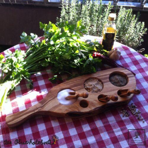 Servierbrett especias riñendo cucharas dosificadoras gewürzschippe olivenholz madera