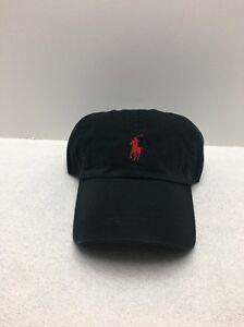 Polo Ralph Lauren Signature Pony Hat Black Red Pony Baseball Cap One ... 511b5559ef4