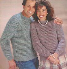 d7cf14545 Knitting Pattern Mens and Women s Fisherman Rib Sweater 32 - 46 ...